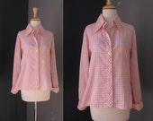 Pink Gingham Blouse / Vtg...