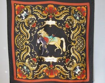 Hermes Scarf / Vtg 60s / Cheval Turc Hermes Scarf in Black