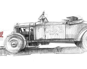 Hot Rod - Original A3 Pencil Sketch
