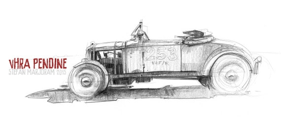 Hot Rod - Original A3 Pencil Sketch