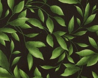 Green Leaves on Black - Cotton Quilting Fabric - Maywood Studios - FL-07