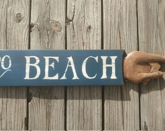 TO BEACH Hand crafted personalized vintage wood  signs