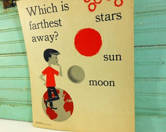 Vintage School Science Poster, Earth & Sky; Stars, Sun, and Moon - Which is Farthest? Science Chart