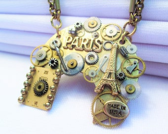 STEAMPUNK Necklace Vintage ELGIN Pocket Watch Part Gear PARIS France French Eiffel Tower Brass Gold Silver Two Tone Pendant by DKsSteampunk