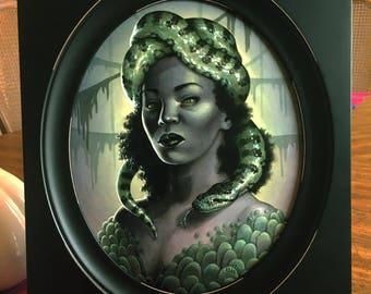 Original Framed Painting - Ophidia Snake Shapeshifter Woman