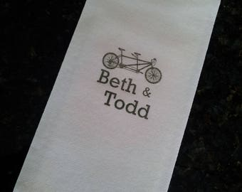 200 Personalized Guest Hand Towels, Napkins or Serviettes, Soft Linen-Like Paper, Custom Designs, Hand Stamped