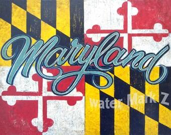 Maryland Flag & script lettering  Print