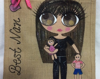Handpainted Personalised Yummy Mummy New Baby Jute Handbag Gift Bag Hen Party Celebrity Style