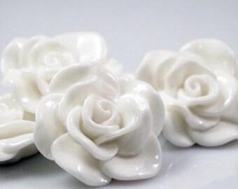 Resin Cabochon - 5pcs - Flower Cabochon - White Flower Cabochon - Cabochon - SW005-16