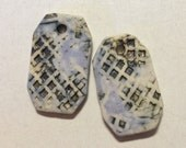 Handmade ceramic porcelain jewelry components for your jewelry, lavender and black