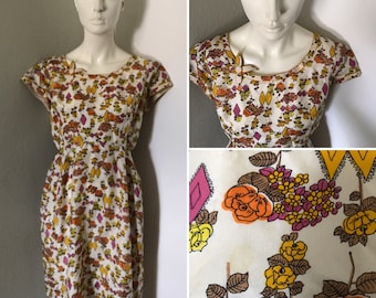 Vintage 50s 60s floral print silk dress day dress party dress retro rockabilly pinup