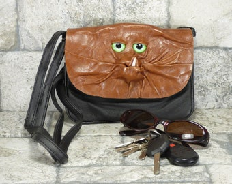 Cross Body Purse With Face Messenger Bag Harry Potter Labyrinth Monster Brown Black Leather Goth