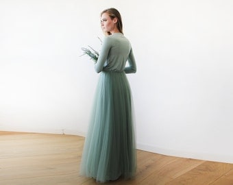 Sage green maxi length tulle gown with long sleeves , Green sage bridesmaids tulle gown 1066