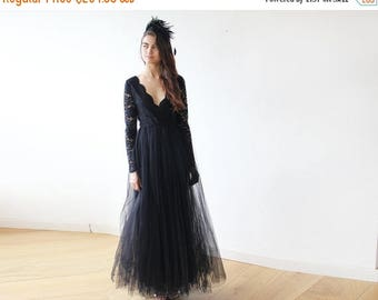 30% OFF - Blush Birthday Black tulle and lace long sleeves gown, Tulle and lace black maxi dress 1125