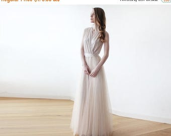 30% OFF - Blush Birthday Champagne maxi tulle sleeveless gown , Bridesmaids maxi champagne tulle dress 1076