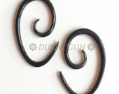 12G Pair Horn Oval Spirals Gauged Plugs Wood Body Piercing Jewelry Earrings 12 gauge