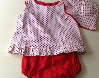 Size00 red spot  ruffled dress with hat and pants to match