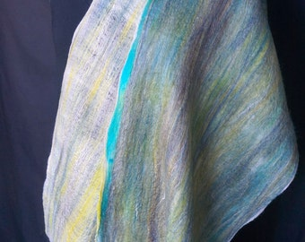 Sea Greens and Blues. Merino Wool/Silk Blend. Felted Scarf.