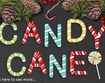 Alpha - Sweet Candy Cane Alphabet Clipart - Candy Cane Letters / Christmas - Vector Clip Art / Digital Clipart - Instant Download