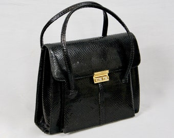 PATENT LOLISE Made in Belgium Exotic Leather Vintage 1970 Real Snakeskin Leather Black Structured Jumbo Kelly Style Hand Bag