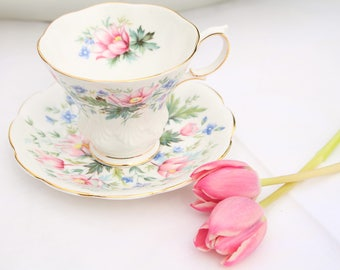 "Vintage Tea Cup & Saucer by Royal Albert, Random Harvest Series, ""Surrey"", English Bone China, High Tea Party, Gifts for Her - ca. 1966+"