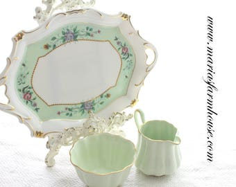 Vintage English Bone China Creamer, Sugar Bowl with Porcelain Tray, High Tea Party, Replacement China, Spencer Stevenson Pattern