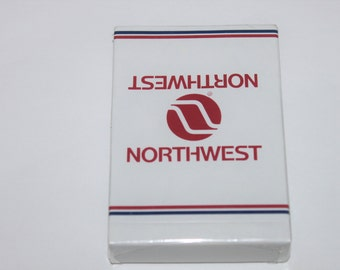 Vintage Set of 1970s Mid-Century Modern Sealed Northwest Airlines Playing Cards