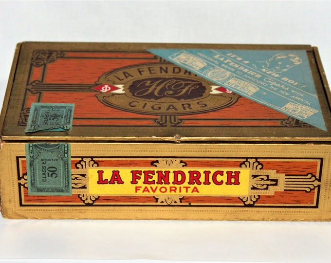 Vintage 1950 LA FENDRICH Cigar Box, with Baby Boy Announcement