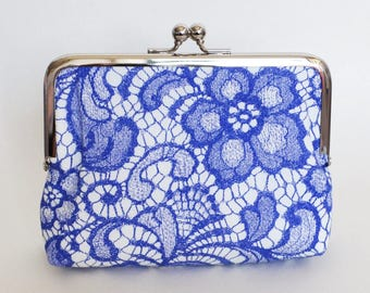 Handmade CLUTCH in Blue Floral Lace