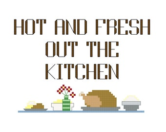 3 Cross Stitch Patterns -- Hot and fresh out the kitchen with dinner, in 3 styles, 5x7s and 3x5