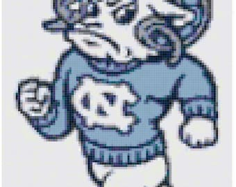 UNC Tarheels Ram cross stitch pattern