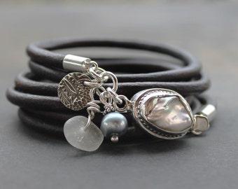 Pearl bracelet - multi wrap bracelet pearl and Leather, sterling silver artisan bracelet, mom gift, boho bracelet