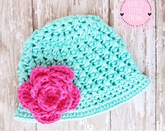 Crochet Spring Hat, Baby Flower Hat, Baby Girl Spring Hat, Baby Girl Summer Hat, Easter Baby Hat, Crochet Flower Hat, Crochet Summer Hat