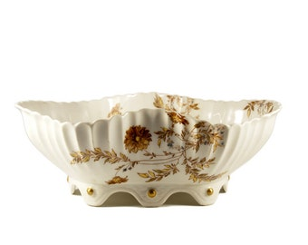 Antique Haviland Limoges Fluted Bowl Brown and Blue Flower Pattern / Antique Haviland Limoges Footed Salad Bowl / Haviland Limoges 1876-1889