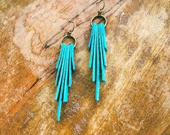 Turquoise leather Sky earrings // southwest jewelry // western // cowgirl // rodeo // boho