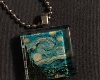 Van Gogh Scrabble Necklace