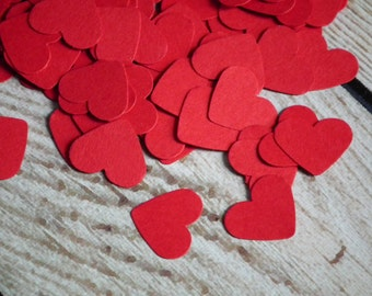 """Red heart confetti, .5"""" red cardstock heart paper punches, red party decor, ready to ship"""