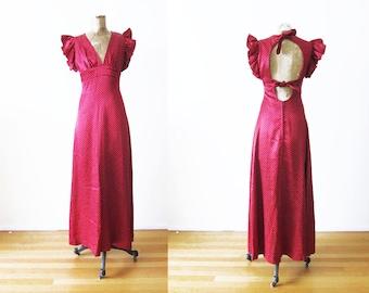 70s Dress / Vintage 1970s Maxi Dress / Red Maxi Dress / Polka Dot Dress / V Neck / Flutter Sleeve / Open Back / Small