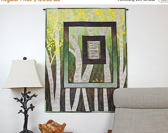 Close out Sale Fiber Art Quilted Wall Hanging, Nature Scene, Trees