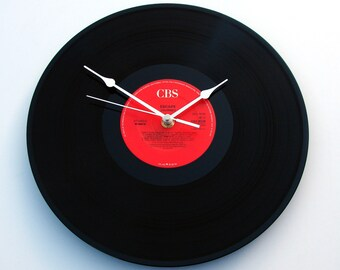 "JOURNEY Vinyl Record Clock, made from recycled 12"" LP, features "" Don't Stop Believin' "", black and red, Glee, fun gift for drama student ?"