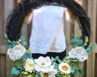 "READY TO SHIP  24"" Black Wreath with White flowers, succulents, magnolias, garden rose, camelia, gardenia, berries and greenery"