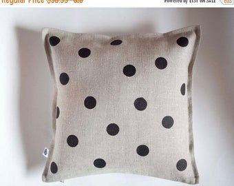 On sale 10% OFF Polka dots on gray linen pillow - small giftables - linen decorative pillow cover hand painted - classic polka dots - custom