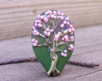 Lampwork Glass Tree Focal Bead Spring Blossoms
