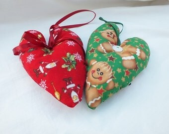 Christmas in July, Christmas Decorations, Heart Christmas Trimming, Gingerbread Men, Father Christmas, Fabric Decor, Noel, Seasons Greetings