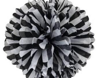 1 LARGE-striped black and white  Pom Pom kit- tissue paper poms // diy // wedding decoration // baby shower // party decor