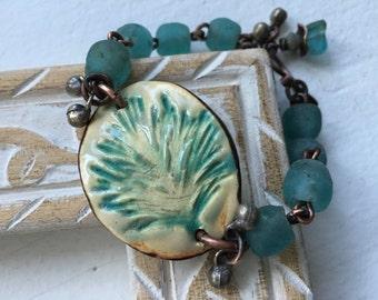 Primitive Rustic Artisan Ceramic *Pine Leaf* Bracelet n294- green blueish . beaded . blue African glass . boho tribal . earthy ceramic focal