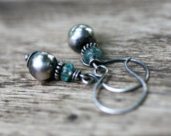 Rustic Minimalist Boho earrings . sterling silver seed bead . Apatite stones . small delicate light weight . artisan earrings . dangle short