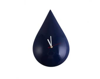 Retro Mod Dark blue Raindrop Wall Clock // Super Glossy Drop shaped Wall Clock for a Modern Room with Vintage Accents