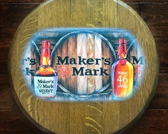 Maker's Mark Inspired Recycled Bourbon Barrel Head; kentucky distillery, man cave, stock the bar, whiskey, wall art decor, wedding, oil