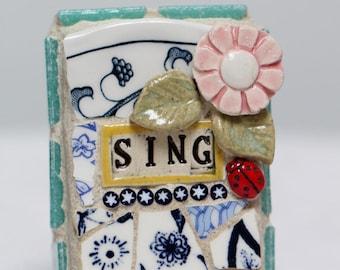 SING, mosaic wall art, gift, mosaic, mosaic art